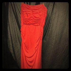 70s Vintage Red Midi Prom Dress